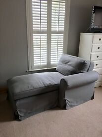 Grey Chaise Longue Long Sofa Chair Window Seat bedroom Living Room