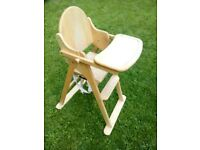 High chair classic wooden fold away