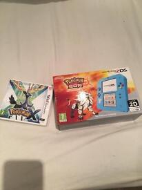 Nintendo 2ds with pre installed Pokemon sun, and Pokemon X