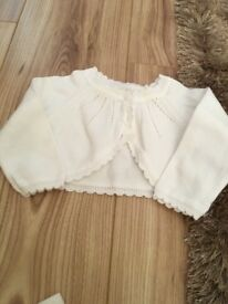 Girls white bolero cardigan, 0 - 3 Months