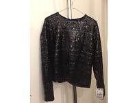 Black sequin party top Zara long sleeve BRAND NEW