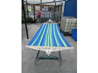 FUNKY BRIGHT STRIPED HAMMOCK ONLY £60!! WITH METAL STAND...ONLY ONE OF THESE SO BE QUICK!!