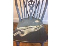 Chair,Windsor style, hand painted 'moon & hare',