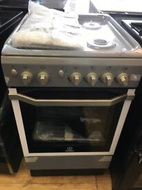 INDESIT BRAND NEW ALL GAS 50CM COOKER IN SILIVER