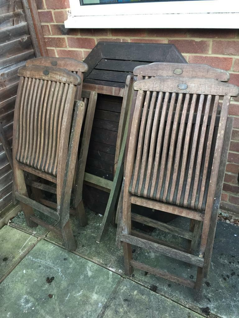 Garden Wooden Table and 4 Chairsin Southampton, HampshireGumtree - Garden Wooden table and 4 chairs in good condition but needs clean after being outside during winter. Collection only from Lordswood, Southampton