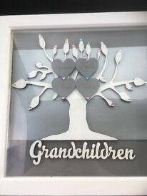Personlaied grandparent family tree engraved hearts 30cm frame