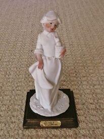 "A Belcari Capodimonte 1985 Dear 7.25"" Figurine Figure of Girl holding basket with ducklings ducks"