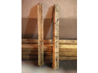 Reclaimed pine wooden beams