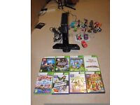 XBOX 360 with Kinect and several other accessories