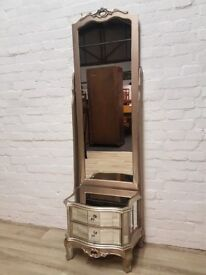 Argente Cheval Mirror With Two Drawers (DELIVERY AVAILABLE FOR THIS ITEM OF FURNITURE)