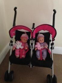 Silver Cross Twin Buggy & dolls
