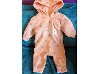 Gap Baby Girls Pink Fleecy Pram Suit, 3-6 Months