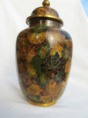 Splendid Cloisonne Shippo Yaki / Enamel on Metal Chic Jar & Cover / Lidded Vase