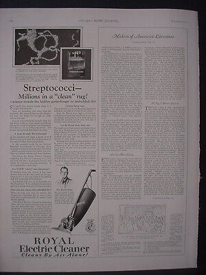 1922 Royal Electric Vacuum Cleaner Streptococci Vintage Print Ad 12045