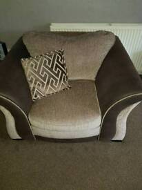 2 year old brown dfs fabric chair