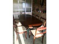 Reproduction Mahogany Dining Table with 8 Regency Style Chairs