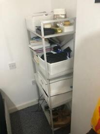 Grey/ copper shelving unit/ storage