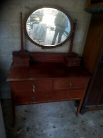 Antique dressing table Edwardian vintage retro shabby chic bedroom dresser mirror