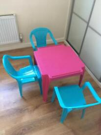 Children's table and 3 chairs