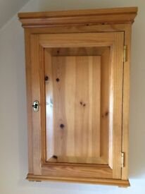 Pine wall-mounted cupboard with shelf and locking door