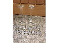 Villeroy & boch candle holders & glass napkin holder x10