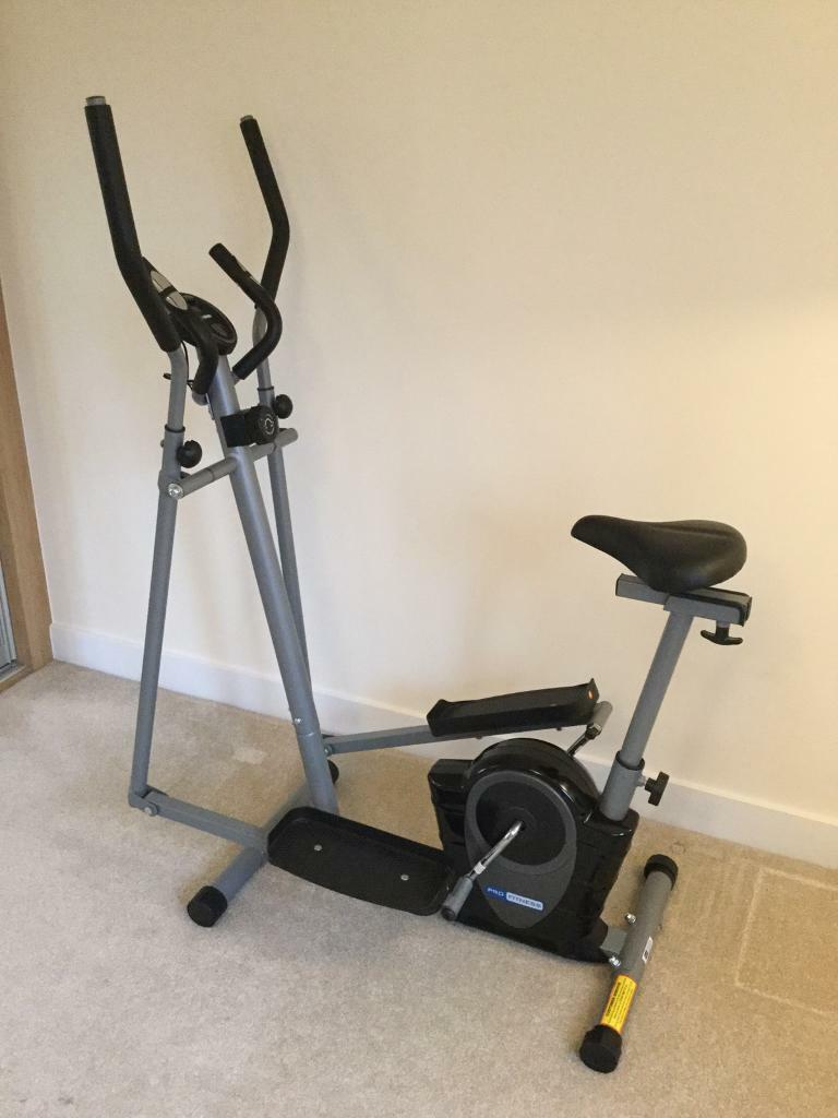 Pro fitness magnetic compact 2 in 1 cross trainer & exercise bike