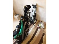 Dunlop golf clubs, with bag, trolley and accessories