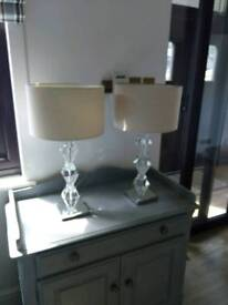 Pair of heavy based crystal table lamps