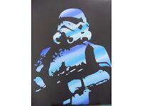 "STAR WARS - 'STORMTROOPER COOL BLUE' - Original Acrylic Painting - 22 "" x 18 """