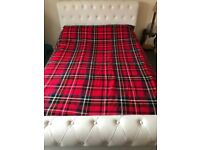 White Leather Double Bed and Mattress
