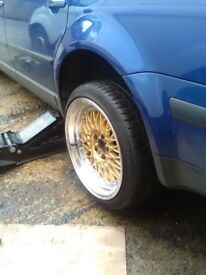 "BBS RS replicas 18"" staggered in gold with great tyres lots of tread"