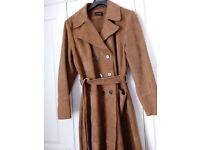 Ladies size 18 'Autograph' tan colour suede trench coat, belted. Immaculate, as new. Stylish. £40