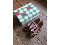 Girls leopard print mini boden party shoes size 31