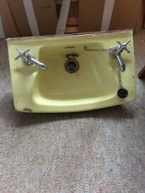 Vintage 'Primrose' coloured cloakroom basin with taps