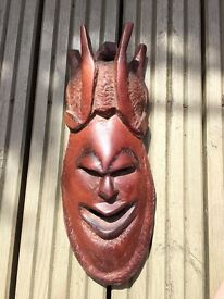 Wooden wall hanging face mask