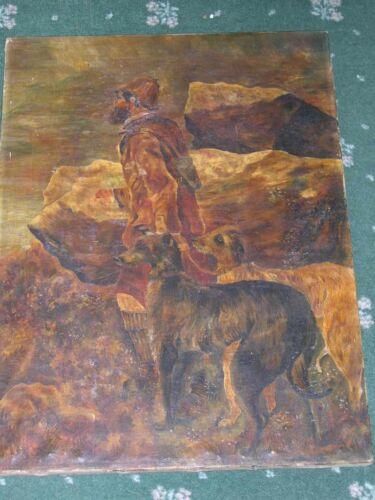 LARGE ANTIQUE SCOTTISH DEERHOUND DOG OIL PAINTING SIGNED & DATED 1908 HOUND