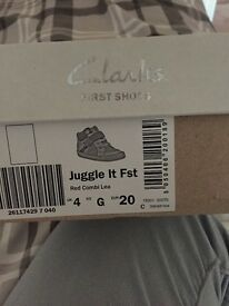 Clarks first shoes size 4 brand new in box
