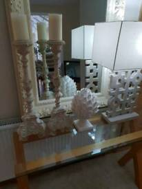 Stone tall decorative candle holders