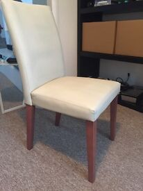 6 faux leather cream dining chairs