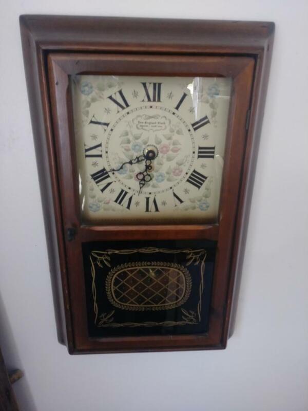 Vintage New England Regulator Wall Clock w/ Key