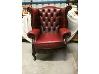 LEATHER WINGBACK CHAIR IN EXCELLENT CONDITION