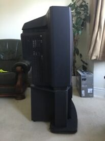 "32"" Toshiba CRT TV with stand containing speaker and 2 surround sound speakers"