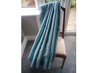 Pair eyelet curtains - duck egg colour. Fully lined