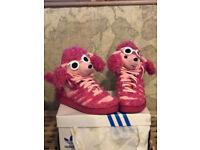 Adidas originals Jeremy Scott Pink Poodle JS Hi -Tops Boots -RARE