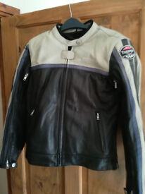 leather motorcycle jacket Triumph size 10ish