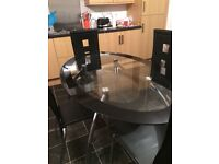 Black chrome and glass table