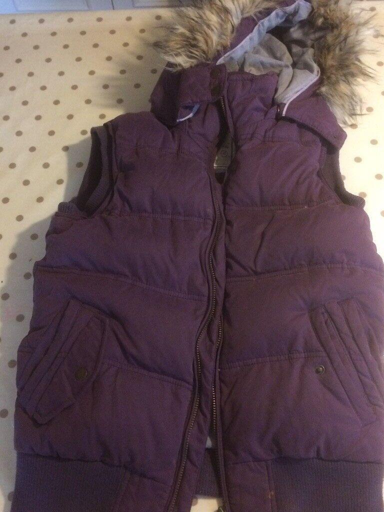 Fat Face Purple Gilet fur rimmed hood - size 10 good condition