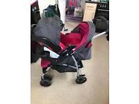Graco pink pushchair & car seat