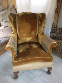 Antique Parker Knoll Wingback Upcycle,Vintage Gold