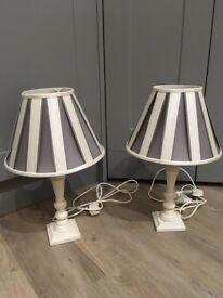 2 very nice cream and grey Laura Ashley table lamps